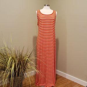 OLD NAVY Orange & White Stripe Tank Maxi Dress XL